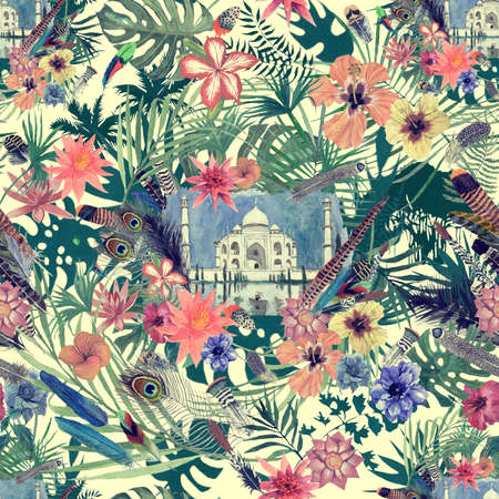 Seamless hand drawn watercolor patten with taj mahal, leaves, flowers, feathers.