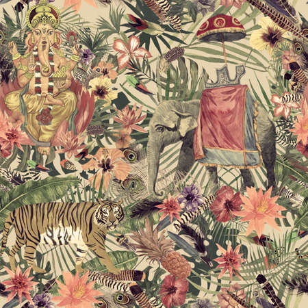 Seamless exotic hand drawn watercolor pattern with ganesha, tiger, flowers, leaves, feathers. 스톡 콘텐츠
