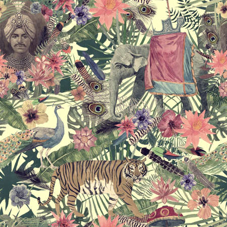 Seamless hand drawn watercolor pattern with elephant, tiger, peacock, flowers, feathers, maharajah 스톡 콘텐츠