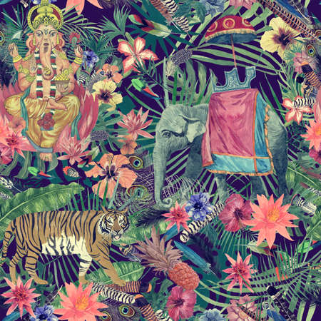 Seamless exotic hand drawn watercolor pattern with ganesha, tiger, elephant, flowers, leaves, feathers.