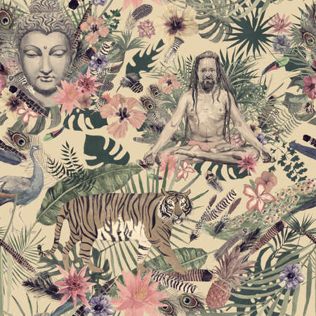 Seamless watercolor hand drawn pattern with buddha head, yogi, peacock, feathers, flowers, leaves.
