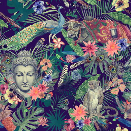 Seamless hand drawn watercolor pattern with leaves, feathers, flowers, buddha head, peacock, monkey, cow. 스톡 콘텐츠