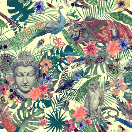 Seamless hand drawn watercolor pattern with leaves, feathers, flowers, buddha head, peacock, monkey, cow. Reklamní fotografie