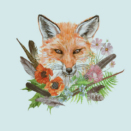 Hand drawn watercolor vintage illustration with fox head , flowers, leaves, feathers.