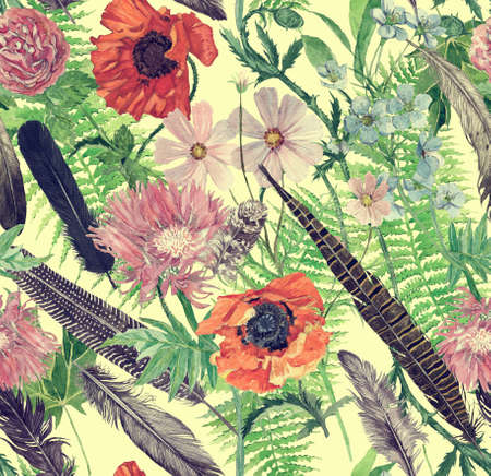 Seamless han drawn watercolor pattern with feathers, leaves, flowers. 스톡 콘텐츠
