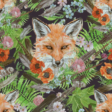Seamless hand drawn watercolor pattern with fox head, feathers, flowers.