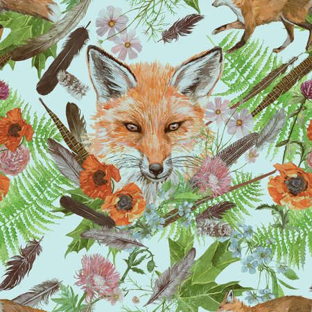 Seamless hand drawn watercolor pattern with fox head, feathers, flowers. 스톡 콘텐츠 - 132737004