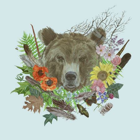 Hand drawn watercolor vintage styl illustration with bear head 스톡 콘텐츠