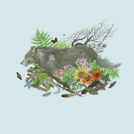 Hand drawn watercolor illustration with wolf running, leaves, flowers, feathers