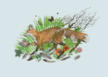 Hand drawn watercolor illustration with fox running, leaves, flowers, leaves 스톡 콘텐츠