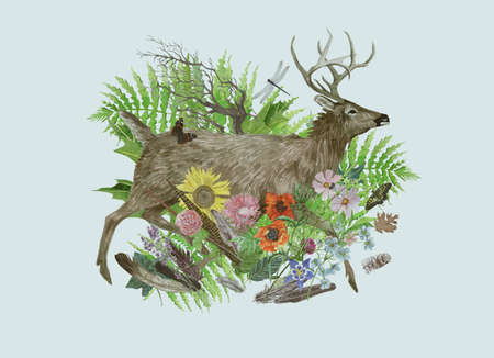 Hand drawn watercolor illustration with deer, flowers, feathers, leaves