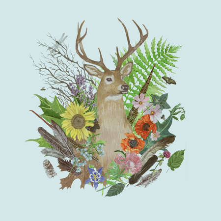 Hand drawn watercolor illustration with deer head, feathers, flowers, leaves