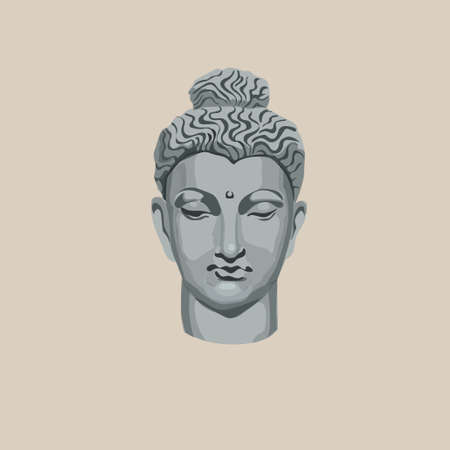 Buddha head. Isolated vector on creamy background.
