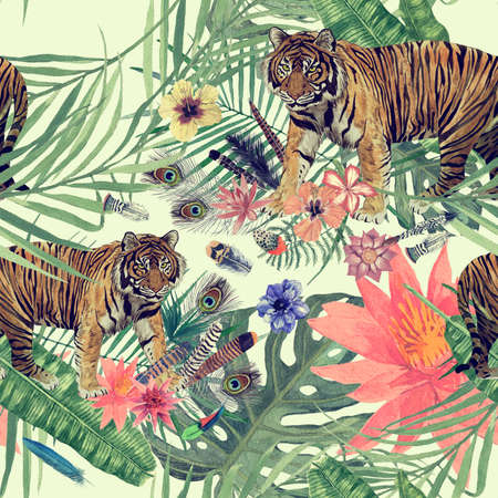 Seamles hand drawn watercolor pattern with tiger 스톡 콘텐츠