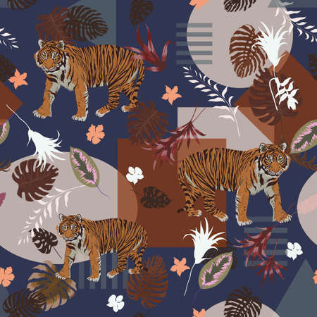Seamless geometrical vector pattern with sumatrian tiger, leaves, flowers