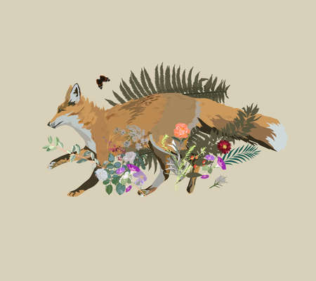 Vector illustration of fox running , vintage style, with flowers