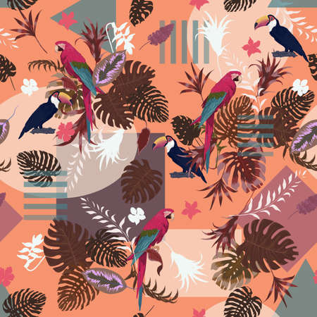 Seamless vector exotic pattern with parrots, toucans, geometry 일러스트