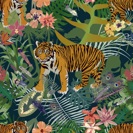 Seamless trendy exotic pattern with tiger, leaves, flowers, feathers.