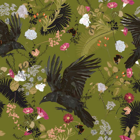 Seameless trendy vector pattern with raven, flowers, plants, leaves 일러스트