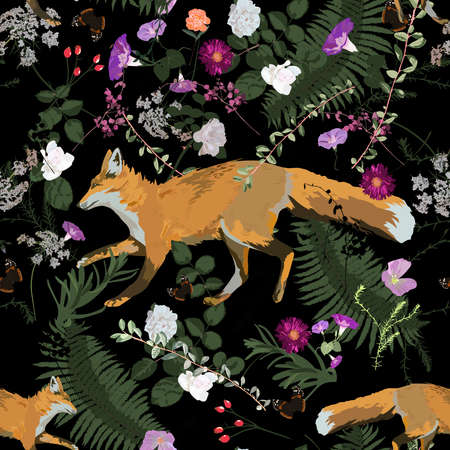 Seamless trendy vector patten with fox running leaves, flowers, plants.