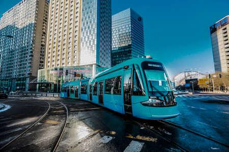 Streetcar in winter of 2015, Shenyang, LIAONING, CHINA