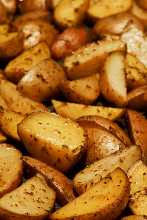 seasoned: Baked Potato Wedges seasoned with salt, oil and spices