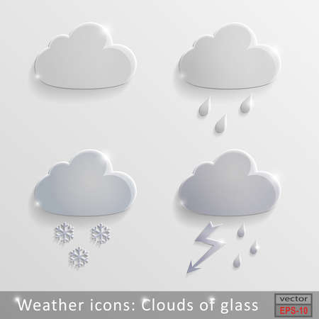 Set of glass icons rain clouds Vector
