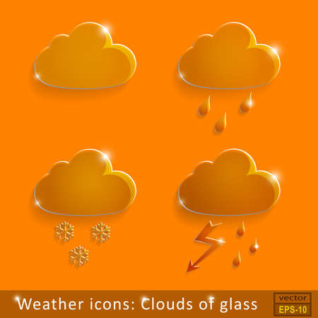 Set of glass icons rain clouds on an orange background Illustration