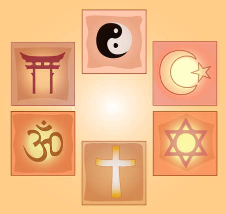 Set religious symbols on a sunny background