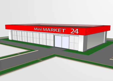 The mini market shop facade retail trade.