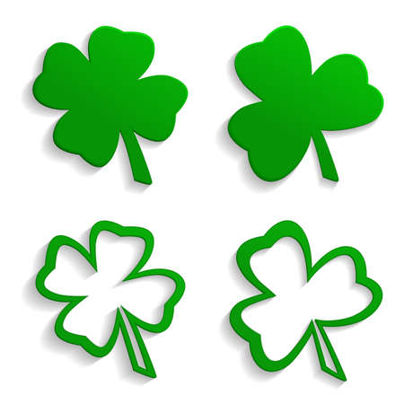 Set of icons four leaf clover and trefoil. Vector