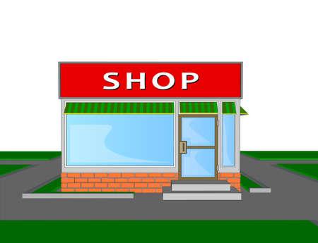 A mini market shop facade retail trade  Vectores