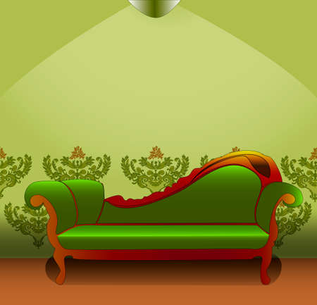 sconces: Green couch on light green background wallpaper and sconces