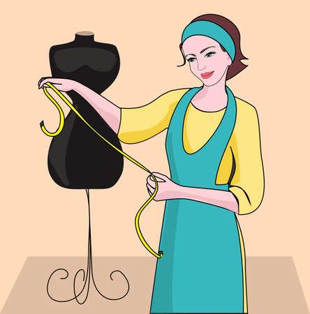 costurera: Costurera de la mujer y la modista para tratar de adaptar el modelo y la ropa. Vectores