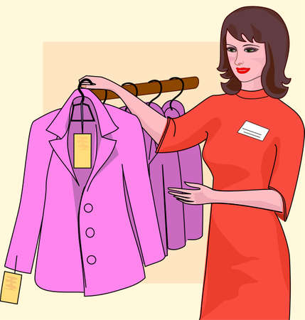 general store: Girl seller finished dresses in the store offers the buyer a jacket