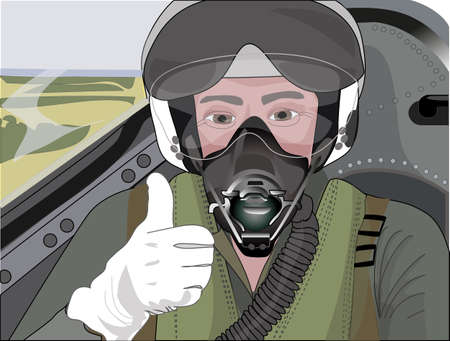 Profession pilot in the cockpit preparing to start  Vector