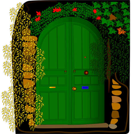 overgrown: Door in the wall overgrown with creepers. Vintage style. Illustration
