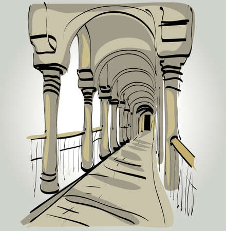 arched: Arched passageway as an architectural monument of the ancient world