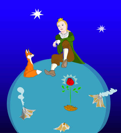 The Little Prince lives on a small planet with a fox and a rose  Vector