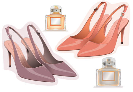demonstrate: Womens shoes and perfume bottles Illustration