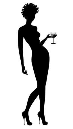 poses de modelos: silueta femenina negro, vaso en la mano