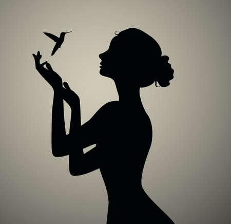 Zwarte silhouet van het meisje vogels kijken