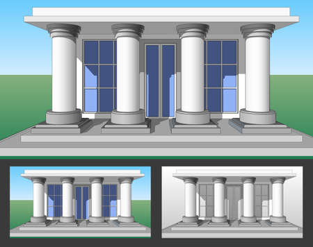 sill: Architectural pattern, the entrance to the house with columns.