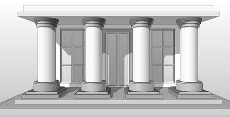 porch: Architectural pattern, the entrance to the house with columns.