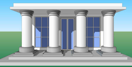 veranda: Architectural pattern, the entrance to the house with columns.