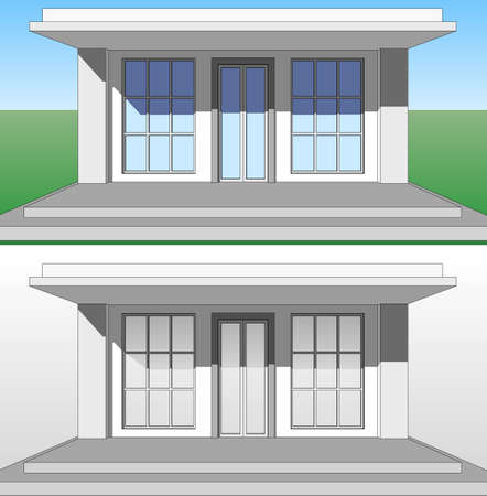 porch: The architectural pattern of the porch, the entrance to the house. Illustration