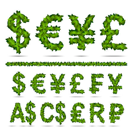 designation: Money currency sign of the world. The theme of spring and green leaves. Illustration