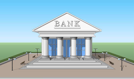 stage door: The Bank building, front view. Isolated objects. Illustration