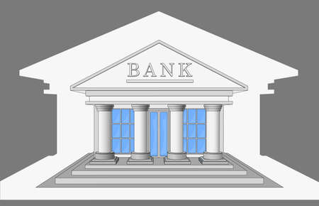 veranda: The Bank building, front view. Isolated objects. Illustration