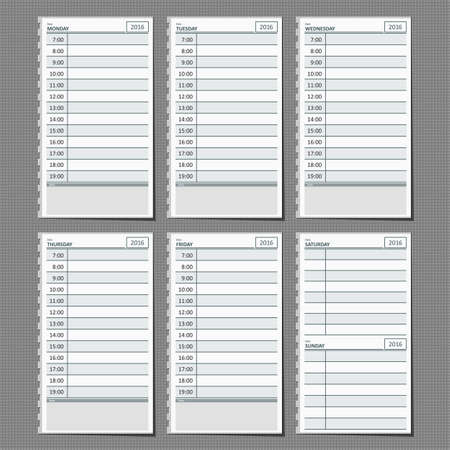 planner: Weekly planner for efficiency use of time.